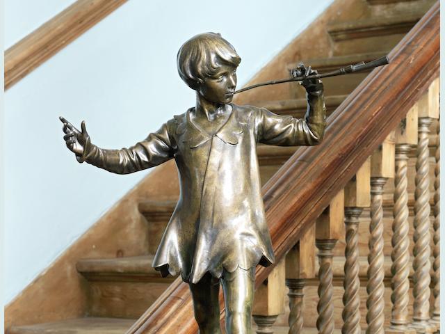 Sir George Frampton (British, 1860-1928) A bronze figure of Peter Pan