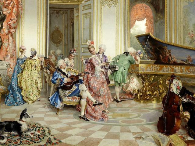 Oreste Cortazzo (Italian, 1836-1910) A musical soirée