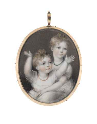 Samuel Shelley (British, 1750-1808) A miniature portraying the Misses Norman, wearing white dresses, turquoise and coral necklaces, their blonde hair cropped short