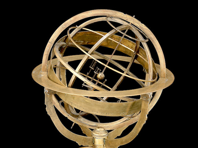 A small brass armillary planetarium, not signed but attributable to the workshop of G. F.  Brander, mid-18th century,