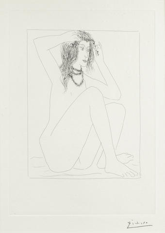Pablo Picasso (Spanish, 1881-1973) Femme nue se couronnant de fleurs, from the Vollard Suite Etching, 1930, on Montval, signed in pencil, from the edition of 50, with margins, 311 x 223mm (12 1/4 x 8 3/4in)(PL)