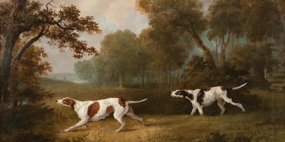 Dean Wolstenholme the Elder (British, 1757-1837) Gun dogs in an extensive landscape