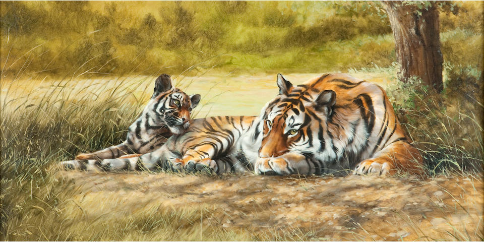 Spencer Hodge (British, born 1943) Tigress and cub