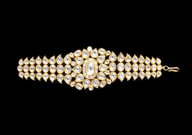 An Indian diamond-set enamelled gold Bracelet