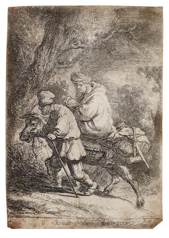 Rembrandt Harmensz van Rijn (Dutch, 1606-1669) The Flight into Egypt: Small Plate Etching, 1633, a slightly worn impression of New Hollstein's first state of four, with the sulphur tinting visible in the upper part of the plate, trimmed just inside the platemark, 90 x 63mm (3 1/2 x 2 1/2in)(SH)