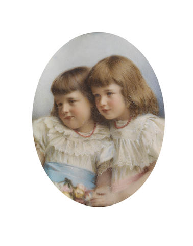 English School, circa 1900 A portrait miniature of Mary Angerstein (b.1893) and her sister, Mildred (b.1894), wearing white dresses