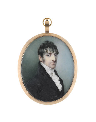John Thomas Barber Beaumont, FSA, FGS (British, 1774-1841) Portrait miniature of a Gentleman, wearing black coat and waistcoat, white frilled chemise, stock and cravat
