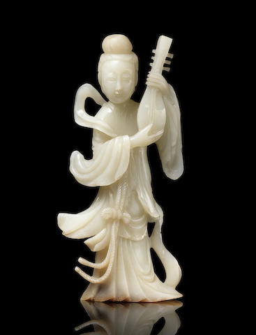 A white jade figure of a standing lady 19th century (2)