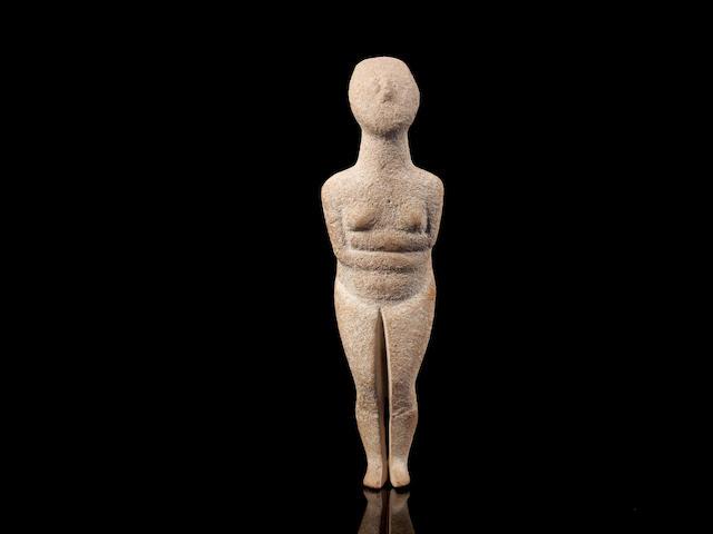 A Cycladic marble female idol
