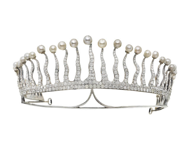 A late 19th century faux pearl and paste sunburst tiara