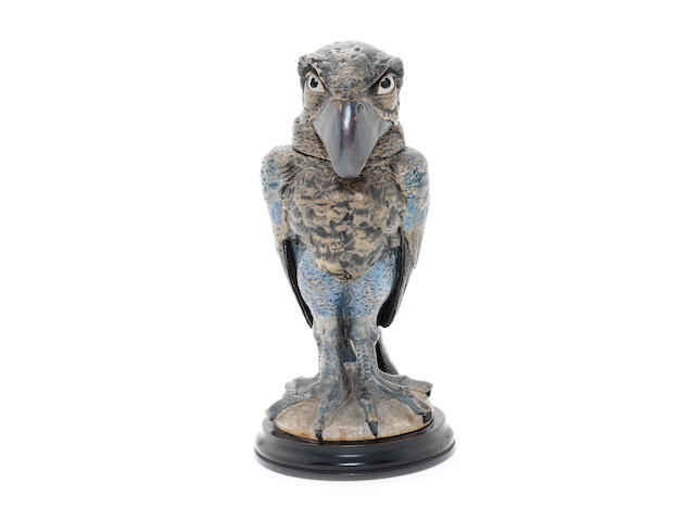 Martin Brothers a Large Stoneware Tobacco Jar and Cover in the Form of a Groteque Bird, 1898