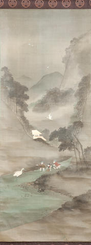 Japanese school, a vertical scroll painting Watercolour on silk,