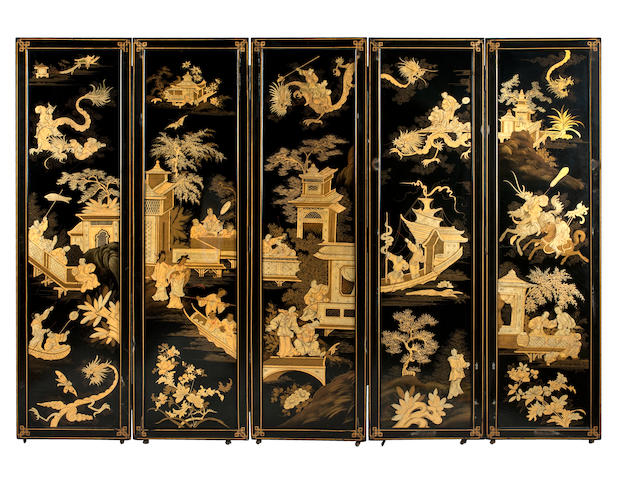 An impressive 19th century five-fold lacquer screen