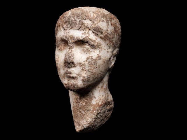A Roman marble portrait head of Gaius Caesar