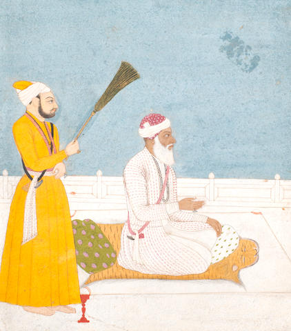 A prince on a terrace with an attendant holding a morchal Guler, late 18th Century