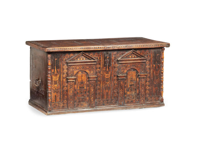 A late 16th century Anglo-German oak and fruitwood inlaid 'Nonsuch' chest, circa 1580