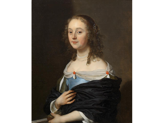 Jacob van Loo (Sluis circa 1614-1670 Paris) Portrait of a young lady, half-length, in a blue dress, seated