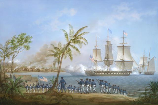 Louis Dodd (British, 1943-2006) The American frigate Potomac attacking Malay pirates at their settlement of Kuala Batu, Sumatra 1832