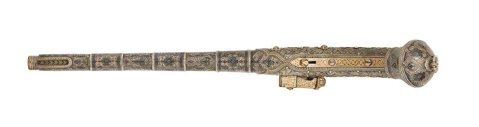 A Very Fine Daghestani 22-Bore Miquelet-Lock Pistol Mounted In Nielloed Silver-Gilt