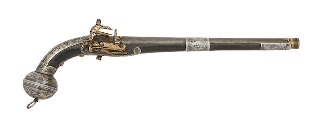A Caucasian 20-Bore Miquelet-Lock Pistol With Nielloed Silver Mounts