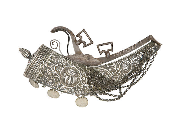 An Ottoman Or Algerian Silver Priming-Flask