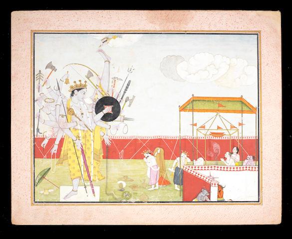 A folio from a Bhagavata Purana series: Vishnu, as Vamana Avatar, visits Mahabali, and then becomes Trivikrama Attributed to the first generation after Manaku and Nainsukh of Guler, circa 1780-90