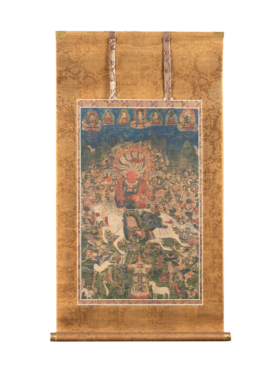 A Chinese thangka of a Dralha 19th century