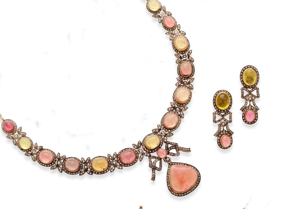 An Indian diamond and gem set collar necklace and earrings (2)