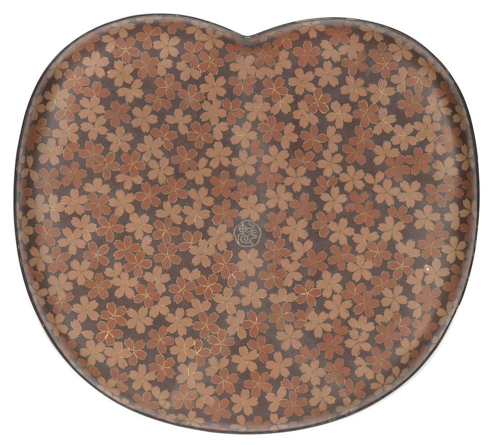 A cloisonné-enamel kidney-shaped tray  By Namikawa Sosuke (1847-1910), Meiji Period, 1890-1895