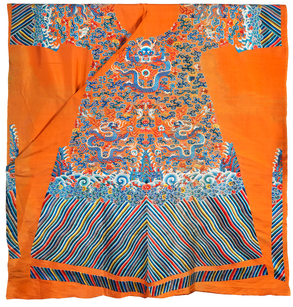 An uncut silk double-sided apricot yellow-ground 'nine dragons' robe Mid 19th century