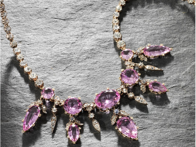 A 19th century pink topaz and diamond necklace