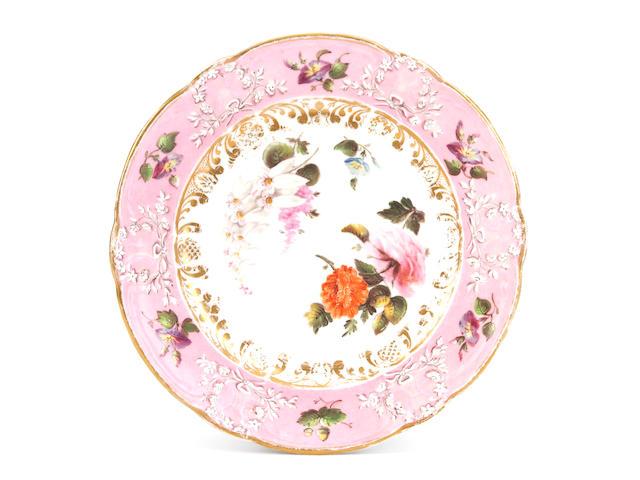 A rare Nantgarw plate by Thomas Pardoe, circa 1818-20