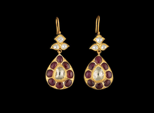 A pair of Indian diamond and ruby-set Earrings (2)