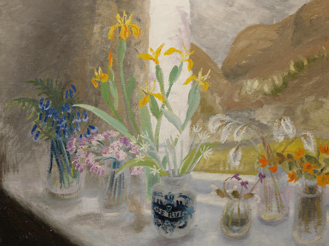 Winifred Nicholson (British, 1893-1981) Wild Flower Window-Sill 59.5 x 64.8 cm. (23 1/2 x 25 1/2 in.)