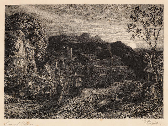 Samuel Palmer (British, 1805-1881) The Bellman Etching, 1879, a fine impression of the fifth state of six, with the Remarque of a branch in the lower right margin, on laid, signed in pencil, one of 60 impressions published by the Fine Art Society, with their stamp in the lower left margin, with wide margins, 190 x 250mm (7 1/2 x 9 7/8in)(PL)