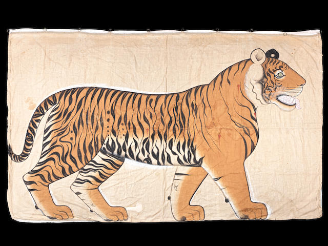 An impressive painting on cloth depicting a tiger Rajasthan, probably Udaipur, circa 1900-1920