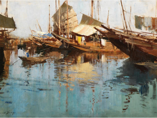 Edward Seago, RWS (British, 1910-1974) Junks at North Point, Hong Kong