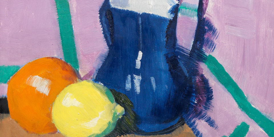 Francis Campbell Boileau Cadell RSA RSW (British, 1883-1937) The Blue Jug 45.2 x 37.4 cm. (17 3/4 x 14 3/4 in.) (Painted circa 1922)