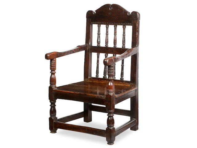 A late 17th century pine open armchair, possibly Nothern Isles, c.1680
