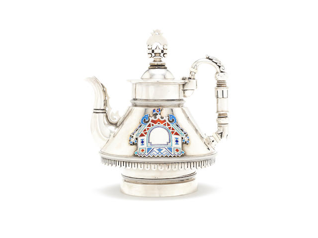 A late 19th century Russian silver and enamel teapot by Grachev Brothers, St Petersburg 1880