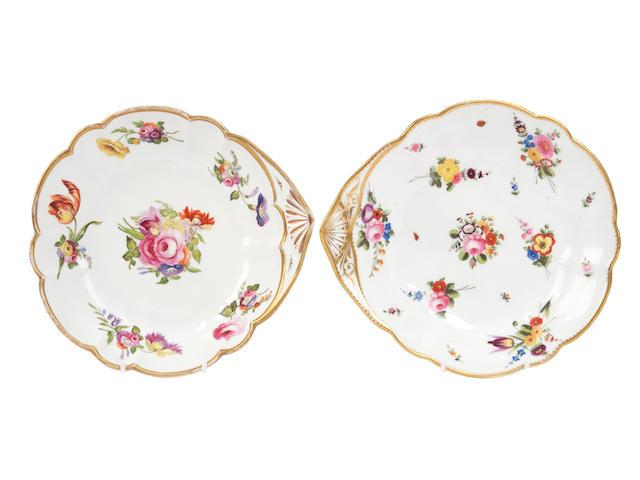 A Nantgarw dish and a Swansea dish, circa 1815-20