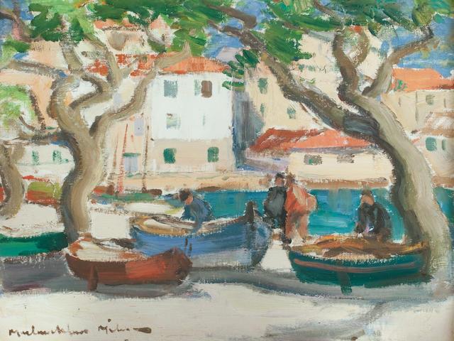 John Maclauchlan Milne RSA (British, 1886-1957) St Tropez Harbour 39 x 46.5 cm. (15 3/8 x 18 5/16 in.)