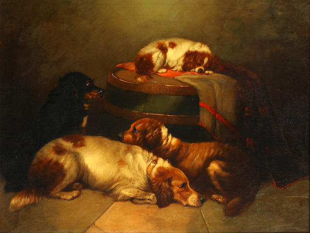 George Armfield (British, 1810-1893) Four spaniels in an interior