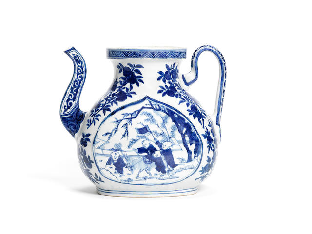 A very rare blue and white peach-shaped 'boys'  ewer Jiajing six-character mark and of the period
