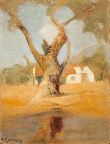 Michalis Economou (Greek, 1888-1933) House in the olive grove 45.2 x 34.5 cm.