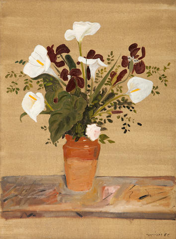 Yiannis Tsarouchis (Greek, 1910-1989) Arum Lillies, Irises and a rose in a terracotta vase 75.3 x 55 cm.