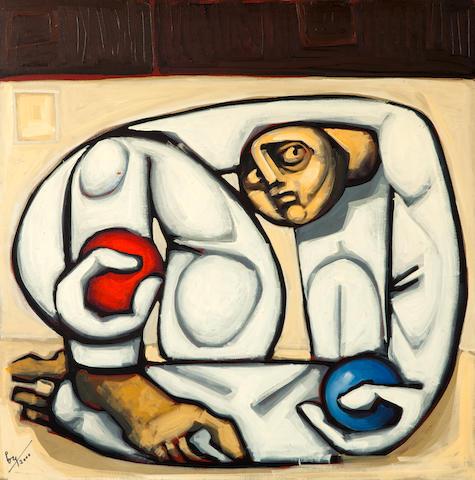 Vassilis Fotopoulos (Greek, 1934-2006) Jeux de balles 80 x 80 cm.