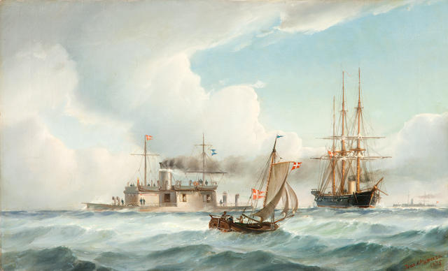 Jean Altamoura (Greek, 1852-1878) Junction in choppy seas 37 x 60.5 cm.