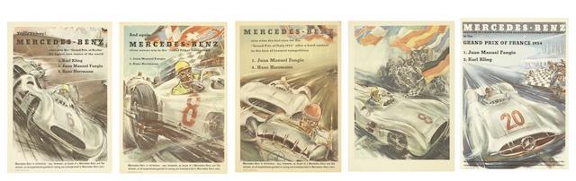 VIER MERCEDES-BENZ FLUGBLATT-POSTER GRAND PRIX SIEGE 1954 ((5))