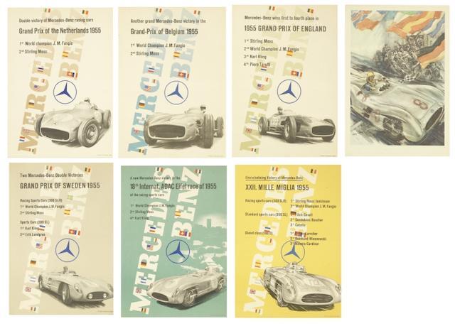 SECHS MERCEDES-BENZ RENNSIEGE FLUGBLATT-POSTER 1955 ((7))